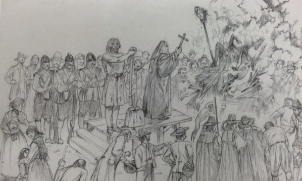 Sketch of the Toldini execution by Aldo Ripamonti from the book I Brentonicani by Franco Ottaviani